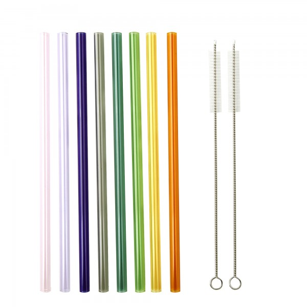 SMOOTHIE PARTY Set of multicoloured reusable glass straws