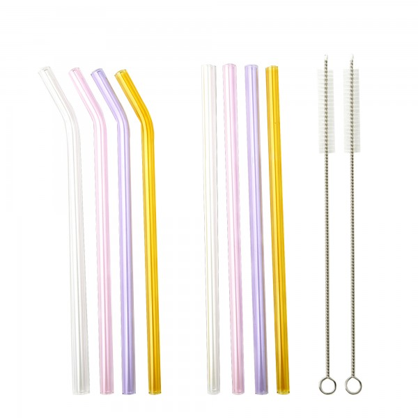SMOOTHIE PARTY Set of reusable glass straws in pastel colours