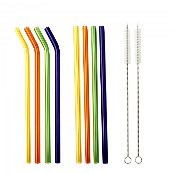 SMOOTHIE PARTY Reusable glass drinking straw set mixed coloured
